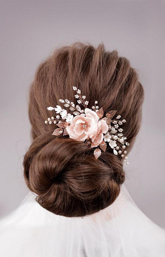 blush bridal headpiece rose gold wedding hair comb blush bridal flower comb wedding hair accessories headbands wedding hair accessories online shop from