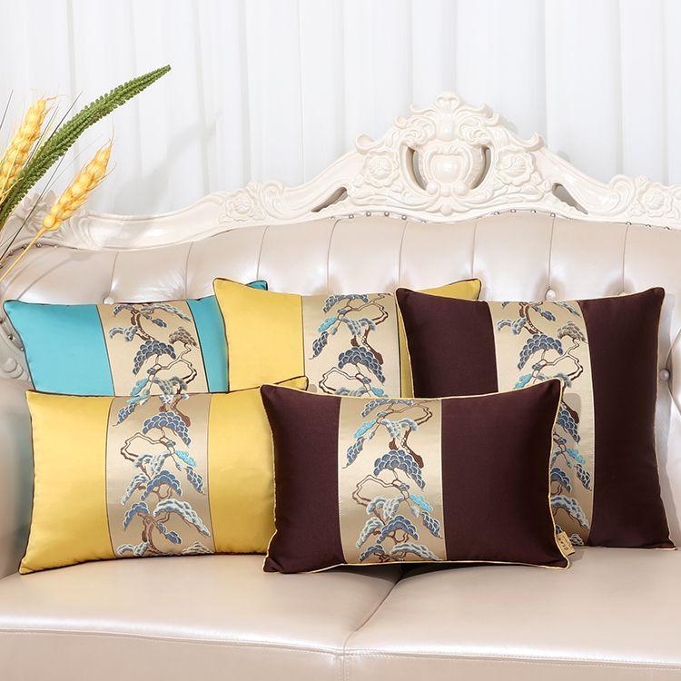 outdoor chair cushion covers cover rentals norfolk va european patchwork silk sofa office home decoration lumbar pillow bedside vintage cushions satin pillowcase blue