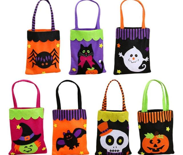 Colorful Halloween Candy Bag Gift Bags Pumpkin Trick Or Treat Bags Sacks Hallowmas Gift For Kids Event Party Supplies Decor Xmas Gift Wrapping Xmas Gift