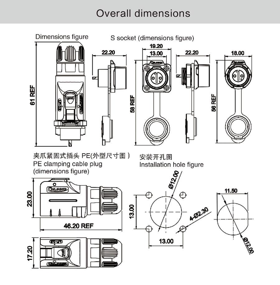 hight resolution of 2018 m12 2 pin 5a male female plug and mating plug power waterproof n14 wiring diagram female m12 12 pin wiring diagram