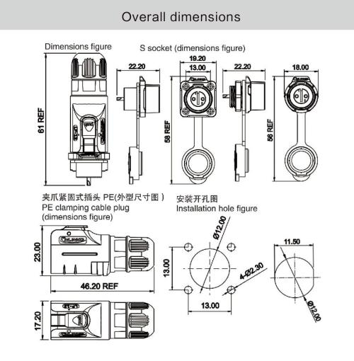small resolution of 2018 m12 2 pin 5a male female plug and mating plug power waterproof n14 wiring diagram female m12 12 pin wiring diagram