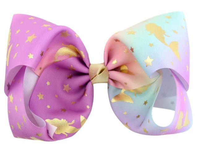 free shipping 100pcs 8 gold unicorn bow with hair clip unicorn big hair bows ombre hair clips girls kids handmade metalic printed ribbon