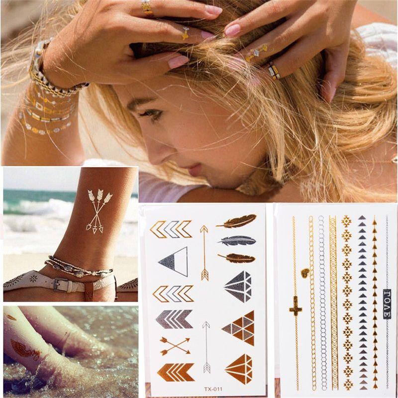 Compre Desechables Tatuaje Pegatinas Estrellas De Oro Y Plata Flecha