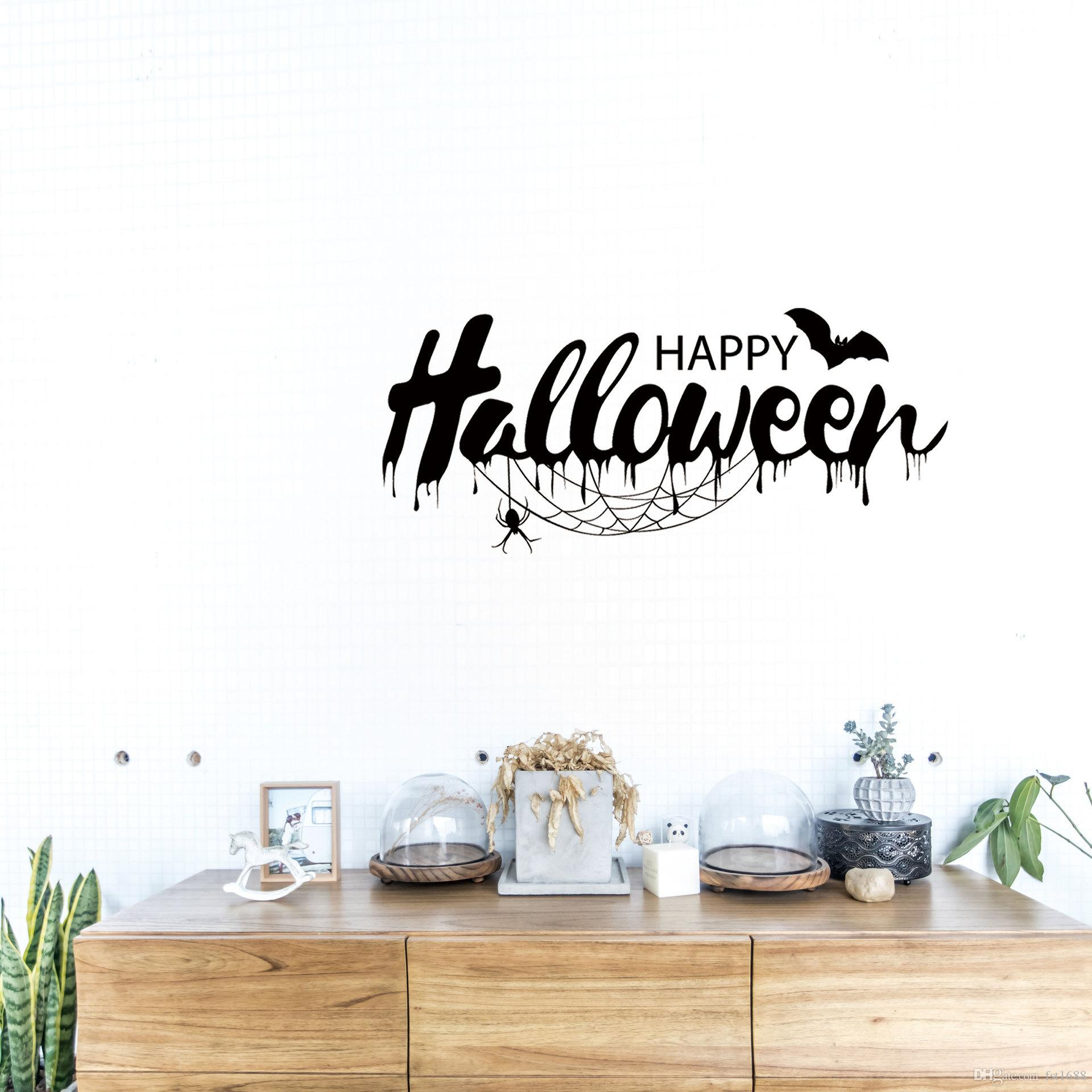 bat living room dark wooden floors diy creative quotes happy halloween festival sticker poster party window bedroom home decoration gift vinyl decal wall art