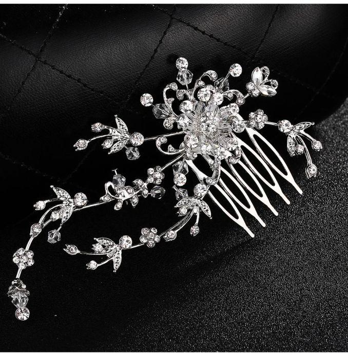 bridal wedding hair combs flower crystal rhinestone hair clips tiaras head pins diamante silver jewelry accessories jch019