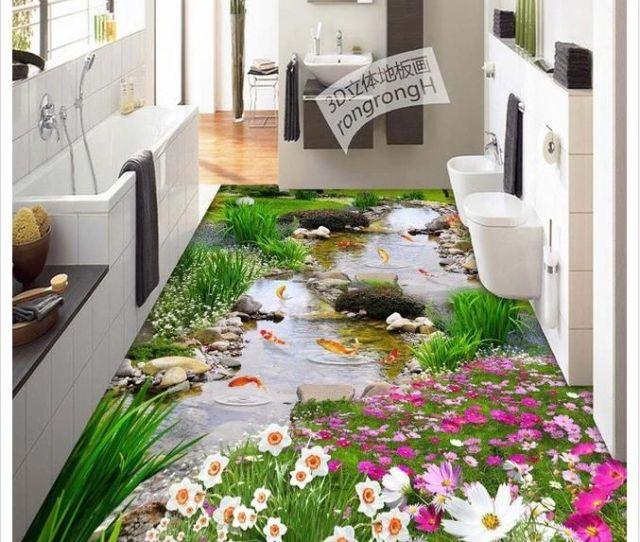 Modern Custom 3d Floor Mural Garden Stream Nine Fish Figure 3d Floor Tile Floor Tile Painting Decoration Non Slip Waterproof Self Adhesive P Wallpapers