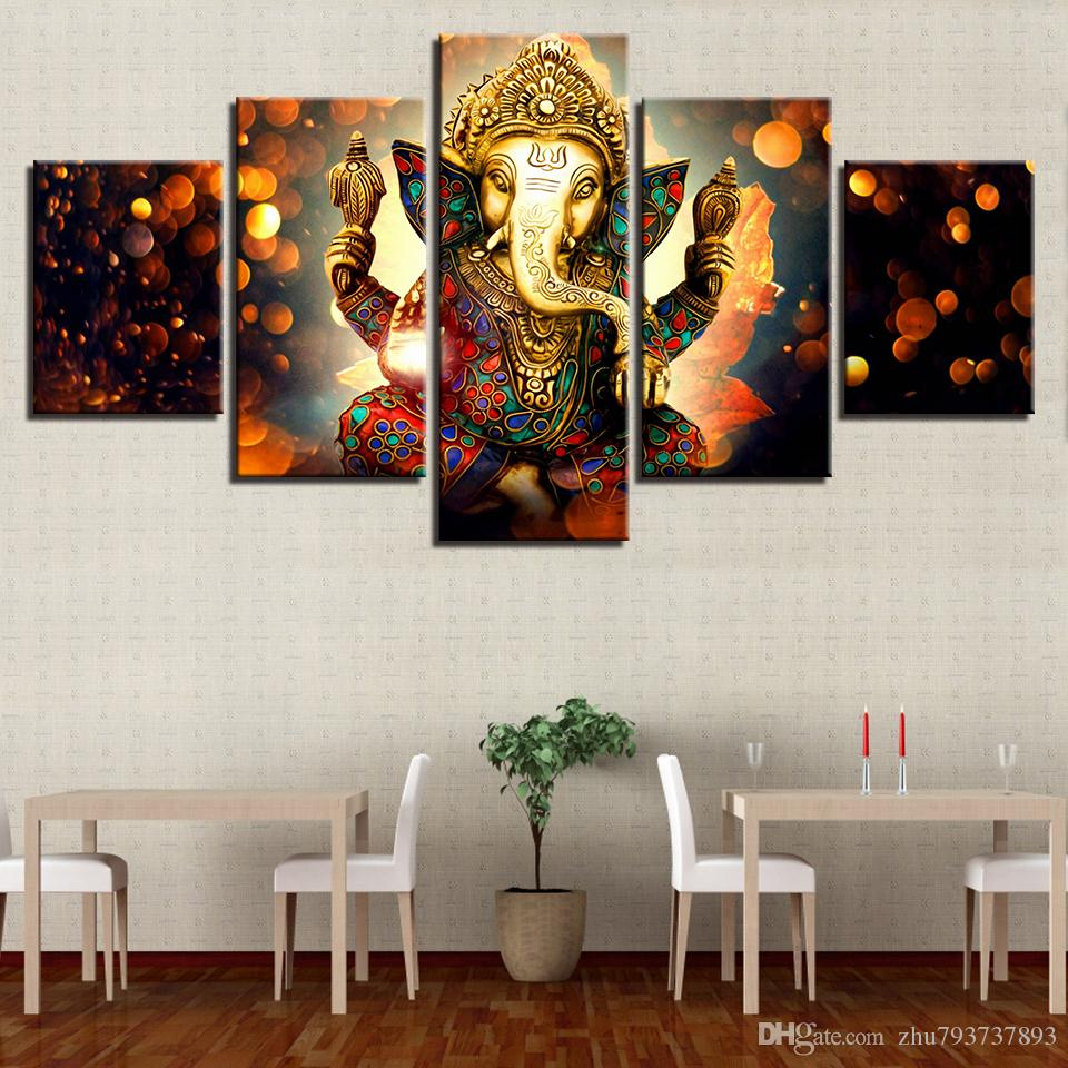 wall decor for living room india warm green paint 2019 modern pictures home 5 panel elephant god painting art modular posters frame canvas hd printed from zhu793737893