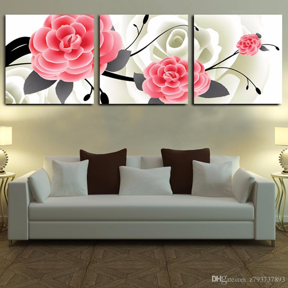 frames for living room walls off white sets 2019 modern canvas wall artwork 3 panel pink flower frame hd home decor printed modular poster pictures painting from z793737893