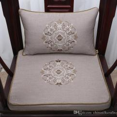 Thick Chair Cushions Zero Gravity Lowes Fine Embroidery Lucky Soft Seat Cushion Linen Cotton High End Chinese Style Arm Sofa Lumbar Support Pillow Best Outdoor Lounge
