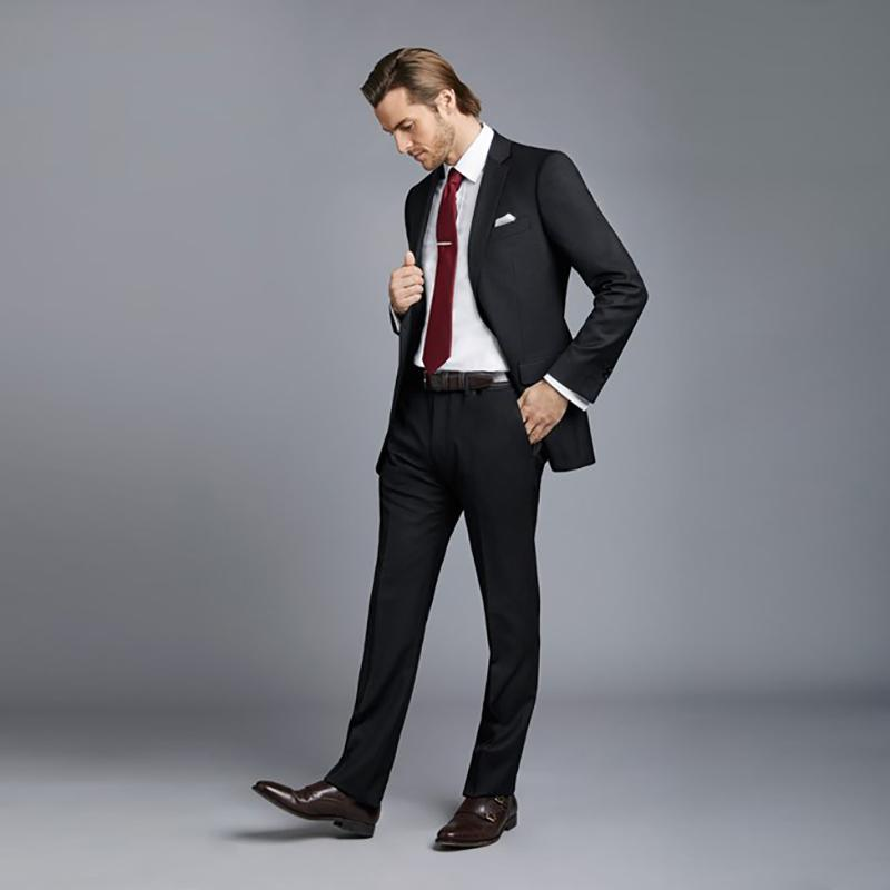 بدلات رجالي الزفاف الأسود 2018 العريس الأعمال الرسمي أفضل رجل الحلل يتأهل حفلة موسيقية ارتداء 2 قطعة سترة سروال