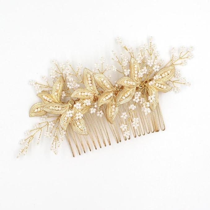 hair accessories bridal hair comb with pearls gold leaves women hair jewelry bridal jewelry wedding headpieces bw hp828 images of hair accessories