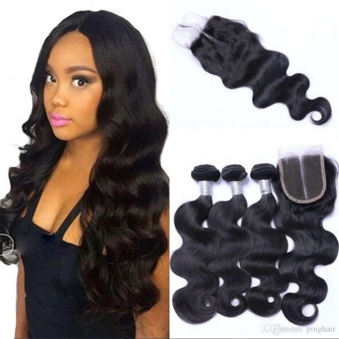 2018 brazilian body wave hair weaves with closures natural black color 4x4 lace closure with 3 bundles human hair extensions ping from pinghair,