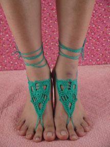 Wedding Barefoot Sandals Bridal Green Sandles