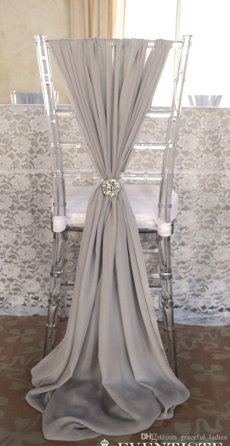 chair covers wedding costs posture office 2019 ivory chiffon sashes party deocrations bridal sash bow custom made color