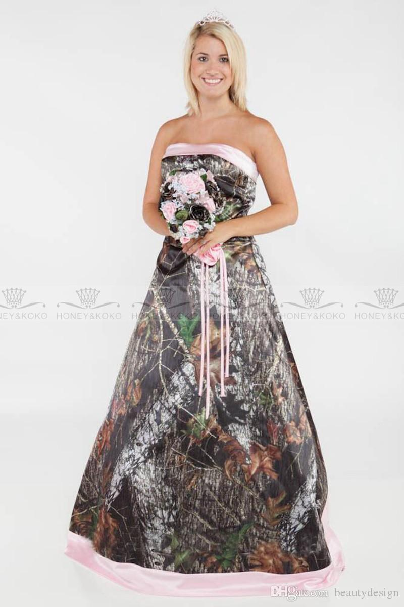 glamorous 2017 camo a line wedding dresses plus size formal pink satin court train bridal gowns