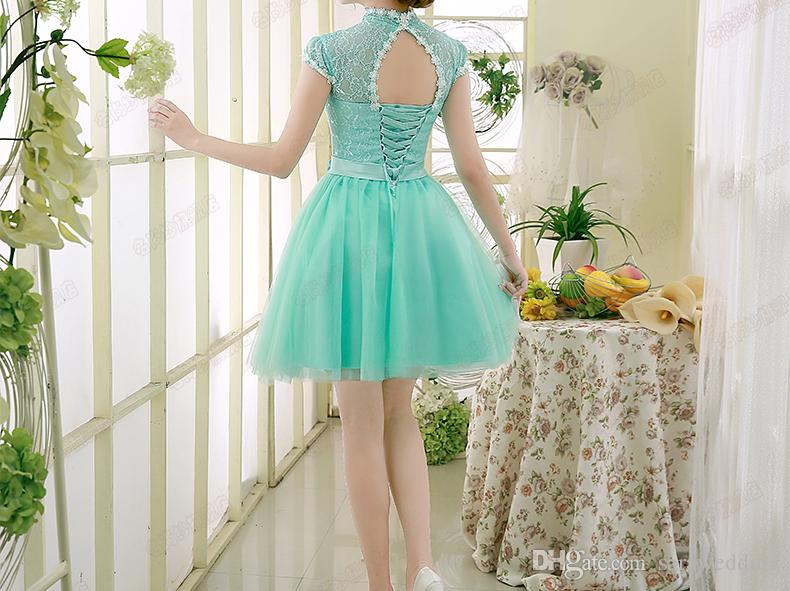 Ice Blue Fashion Short Lace Tulle Bridesmaid Dress 2017