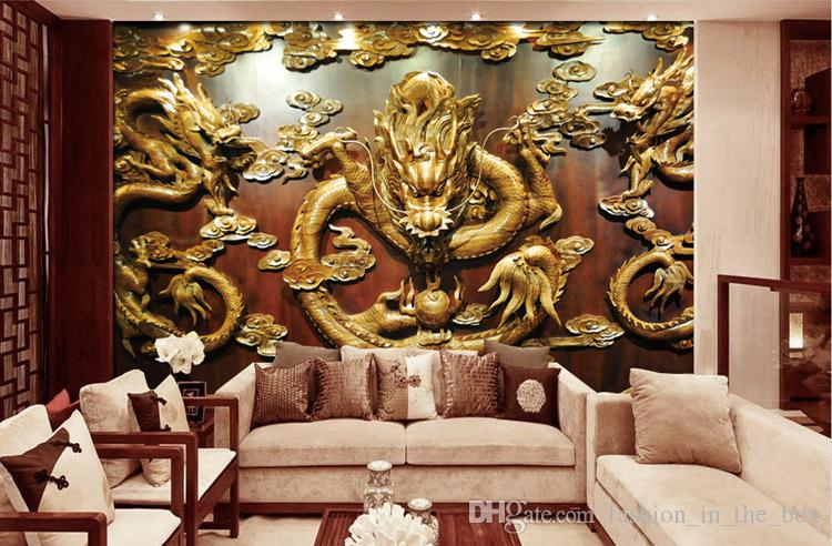 Custom 3D Wallpaper Wood Carving Dragon Photo Wallpaper