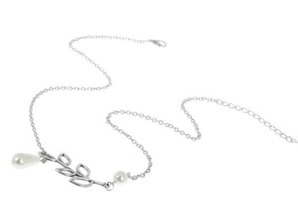 Wholesale Fine Jewelry Women Pearl Leaf Pendant Necklaces