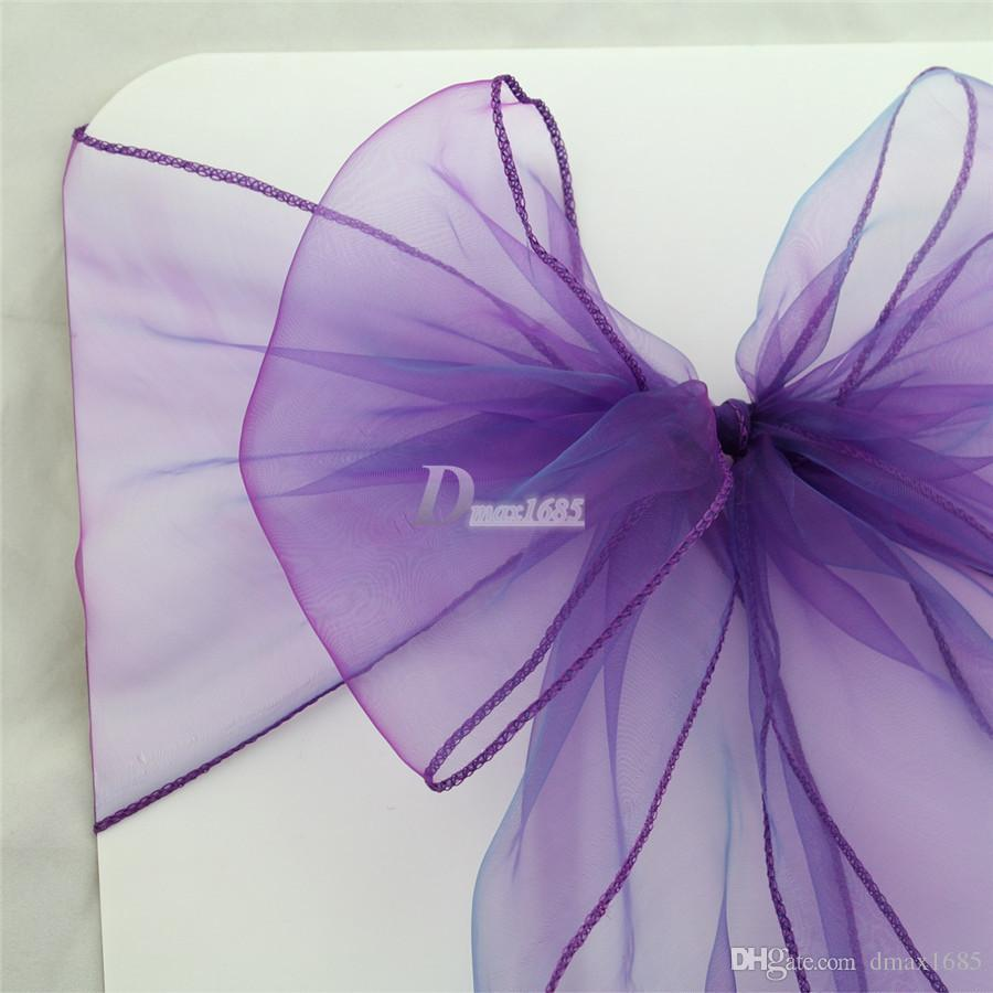 purple chair sashes for weddings bloom fresco high organza ribbons cadbury color bow cover banquet wedding party decor