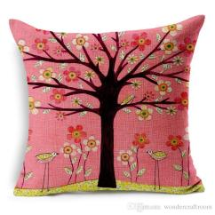 Sofa Fabric Guard Antique Style 28 Styles Pastoral Flowers Trees Bird Cushion Covers ...