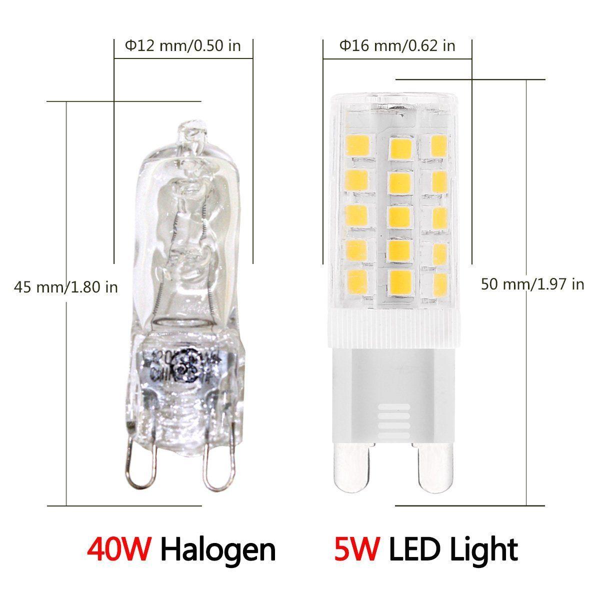 G9 Led Light Bulbs 5 Watt,Equivalent To 40 Watt Halogen