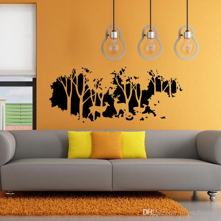 large pictures for living room wall classic rooms extra deer in the forest art mural decor bedroom home decal wallpaper