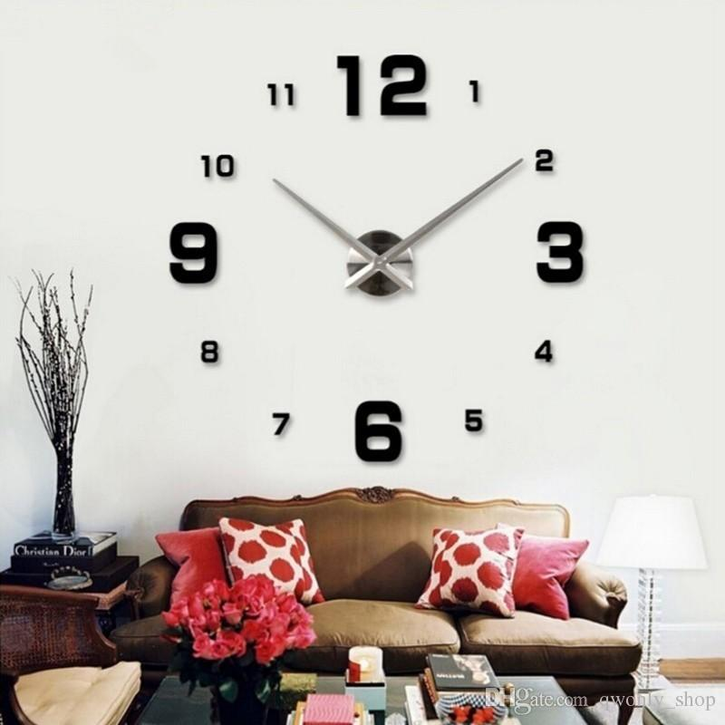 living room wall clocks color with gray couch 2017 special large diy quartz 3d clock big acrylic watch mirror stickers modern