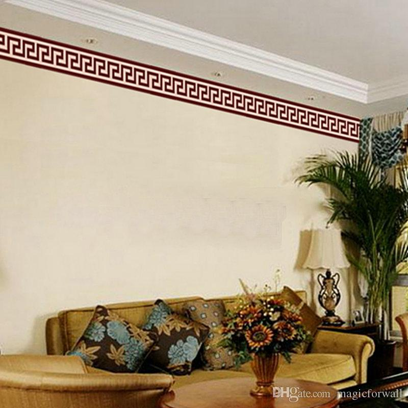 living room border design modern cabinet wall liner sticker decor mural diy home decoration check art wallpaper