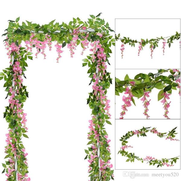 2019 6.6ft Piece Artificial Flowers Silk Wisteria Garland