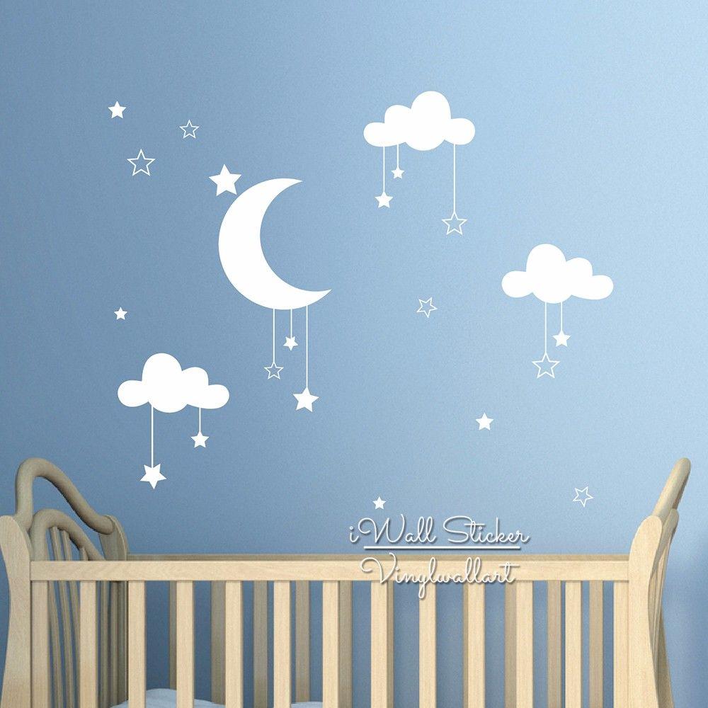 acheter nurseries nuages etoiles wall sticker nuages lune stickers muraux chambre enfants decor simple wall art vinyl cut enfants de 18 18 du