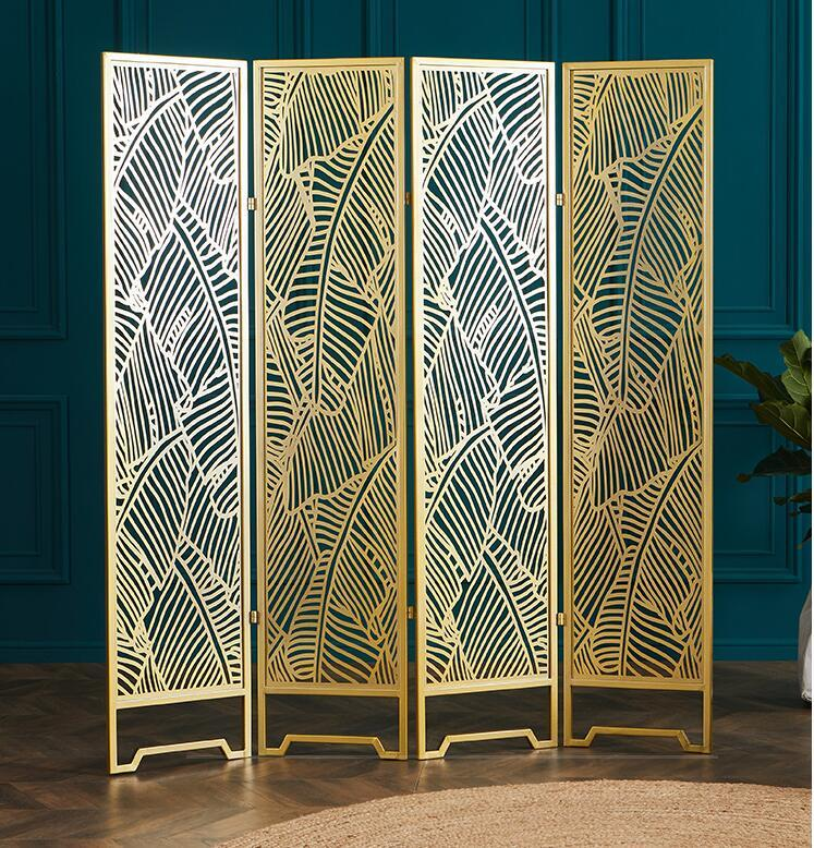 2020 Golden Banana Leaf Screen Living Room Partition Folding Mobile Screen Nordic Decorative Small House European Modern Hollow Iron From Meow Householdes 798 88 Dhgate Com