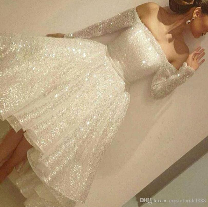 New Bling Cheap A Line Women Cocktail Dresses Off Shoulder Sequined Long Sleeves Tea Length Party Dress Backless Plus Size Homecoming Gowns Short Homecoming Dress Short Homecoming Dresses Cheap From Crystalbridal888, $115.82Com