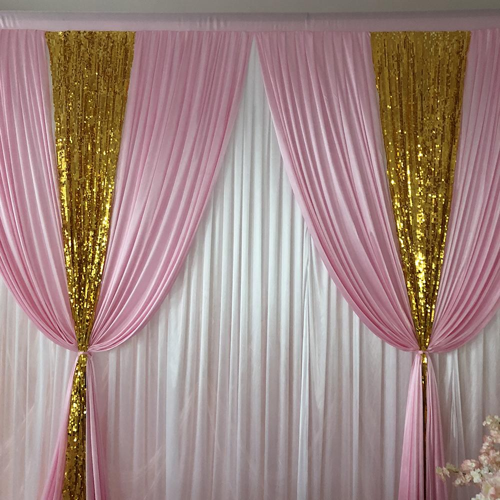 2021 new 10ft x10ft white curtain pink