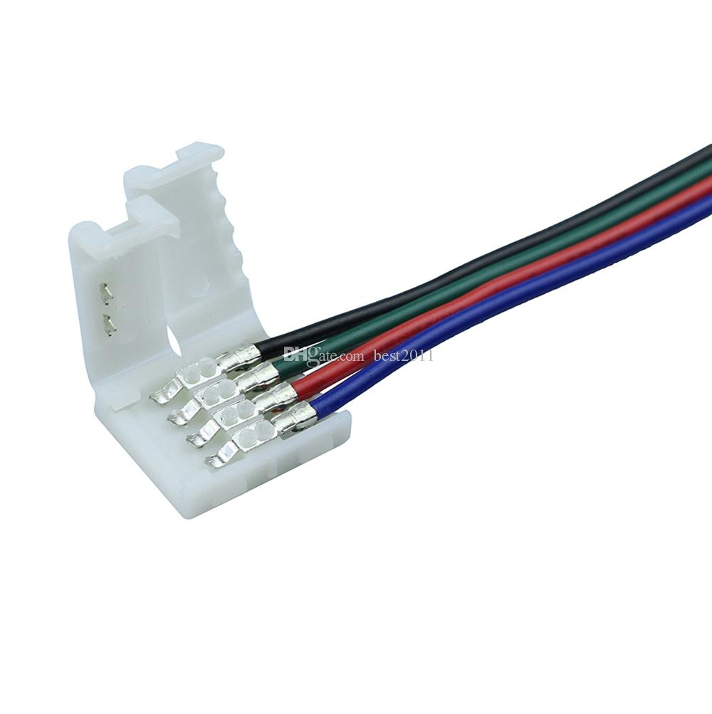 hight resolution of  10mm 4pin rgb led strip connector wire clip cable for 5050 rgb led strip ribbon tape