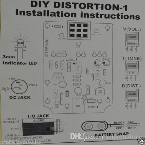 Distortion DIY Guitar Effect Pedal Kit With 1590B And
