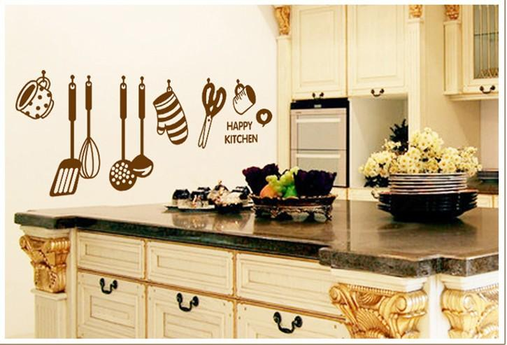kitchen art decor undermount sink sizes happy wall quote decal sticker home wallpaper decoration mural poster room