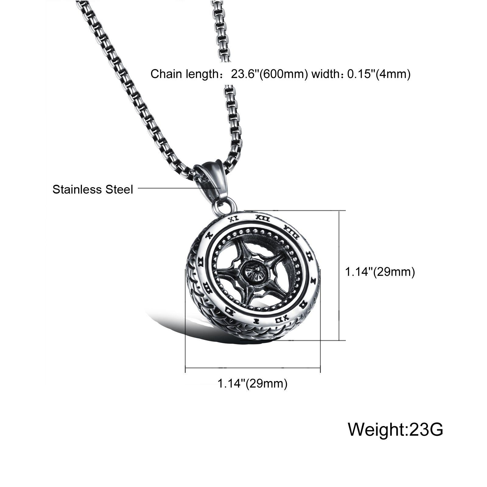Silver Car Wheel Rim Pendant Necklace Racing Necklace
