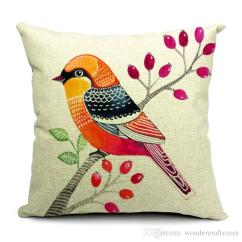 Sofa Cushion Inserts High Quality Sleeper 6 Styles Hand Painting Birds Cushions Covers Pillowcase ...