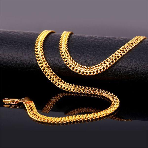 2019 Men' 18k Stamp Gold Chain Men Jewelry Fancy