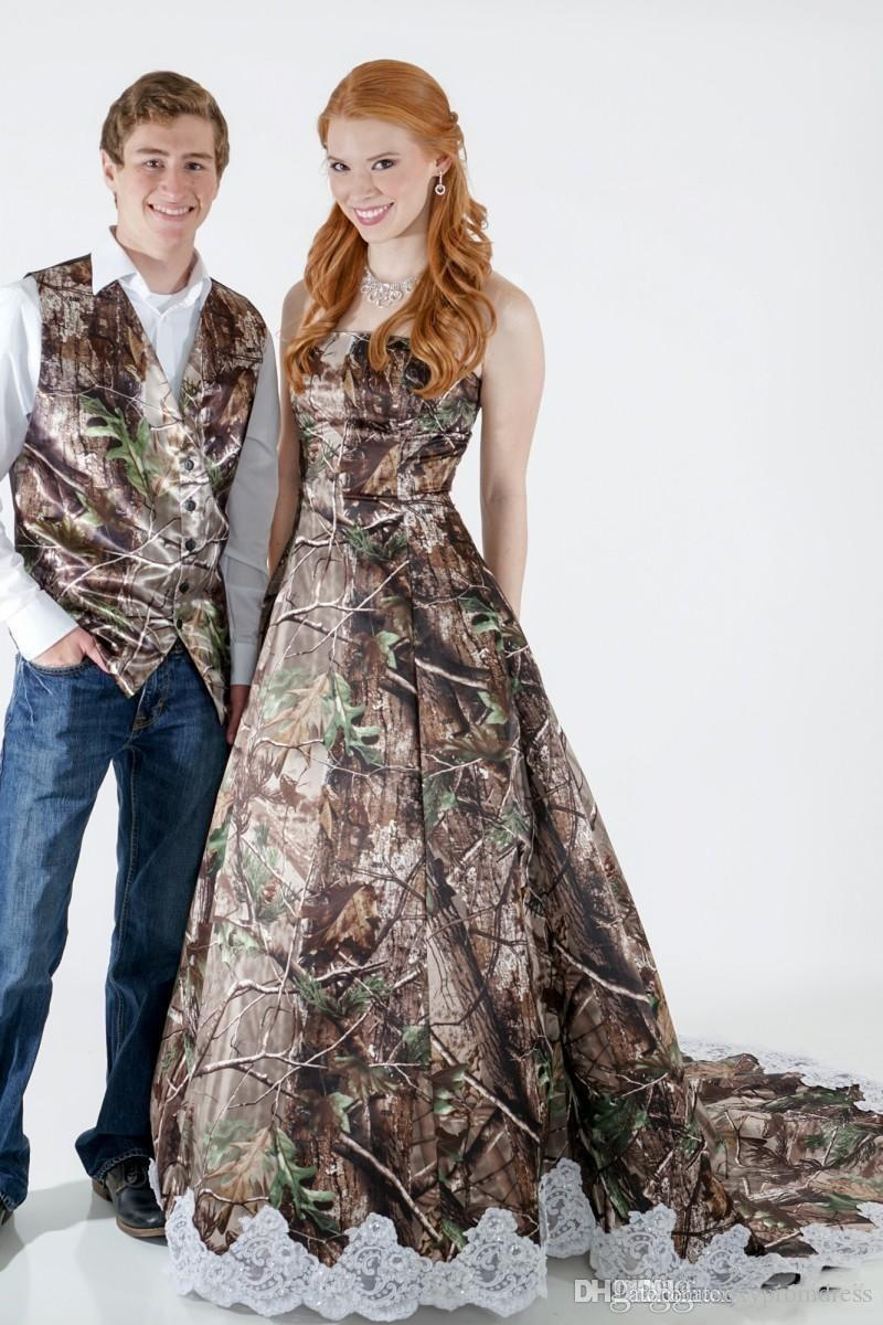 2015 camouflage wedding dresses with bridal veil strapless a line sweep train camo bridal gowns with
