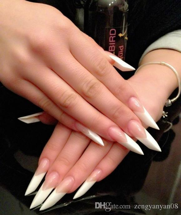 Acrylic Nails White Clear French Nail 10 Size Fake Nails