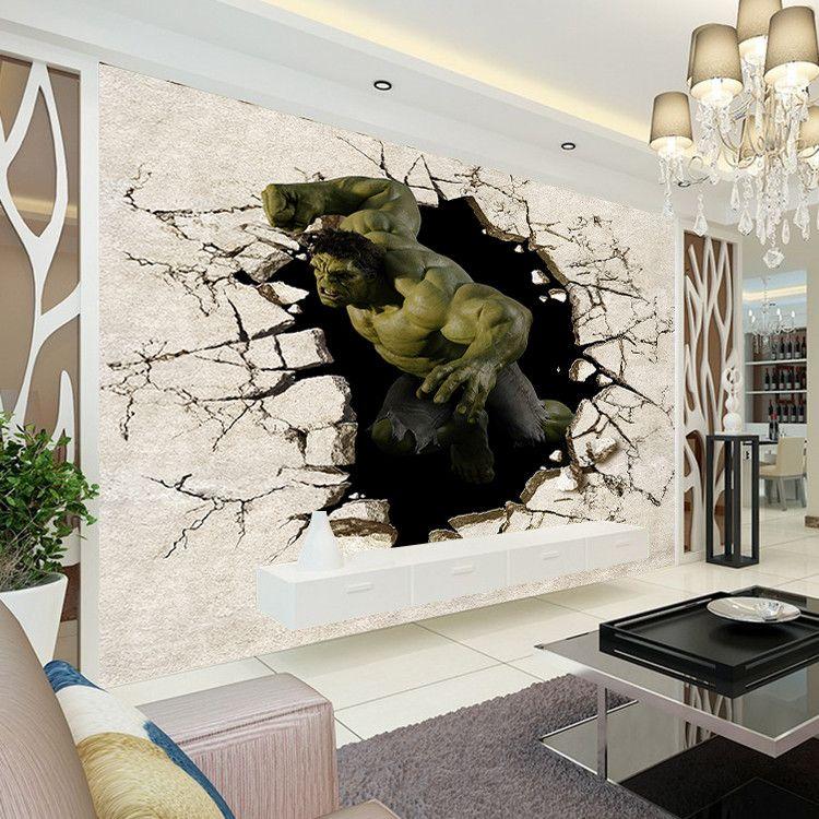 Avengers Boys Bedroom Photo Wallpaper 3D Hulk Wall Mural