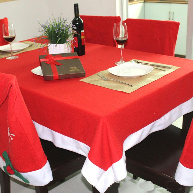 tablecloths and chair covers foldable chairs cover set christmas decoration red table cloth square flannel 184 128cm dining