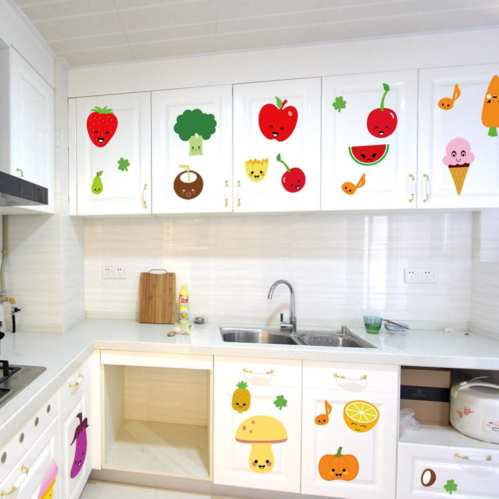kitchen art decor appliances package deals cute cartoon fruits wall mural decoration sticker pvc removable waterproof colorful