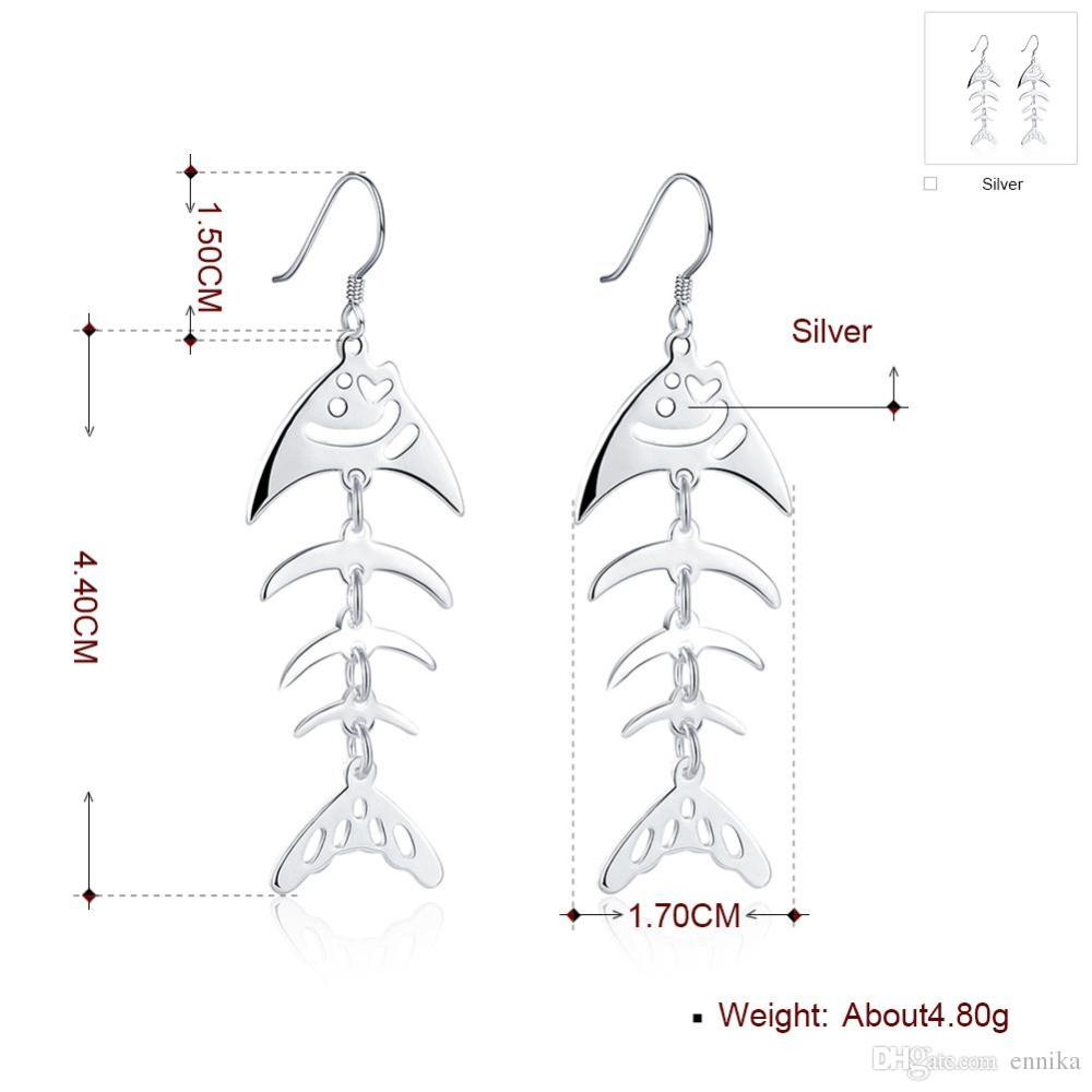 medium resolution of  fish dangle silver earrings 925 silver earrings women s jewelry fashion hollow ear ring 100
