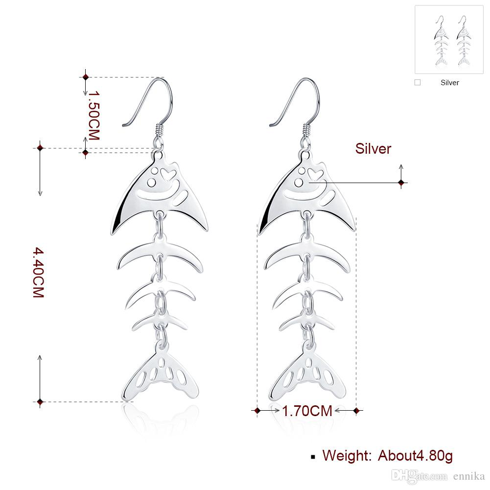 hight resolution of  fish dangle silver earrings 925 silver earrings women s jewelry fashion hollow ear ring 100