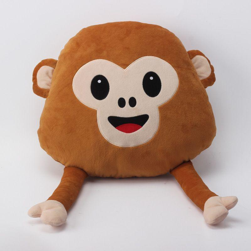 4 Styles Cute Monkey Emoji Pillow Stuffed Plush Throw Pillows Chair Couch Cushion Mobilizable