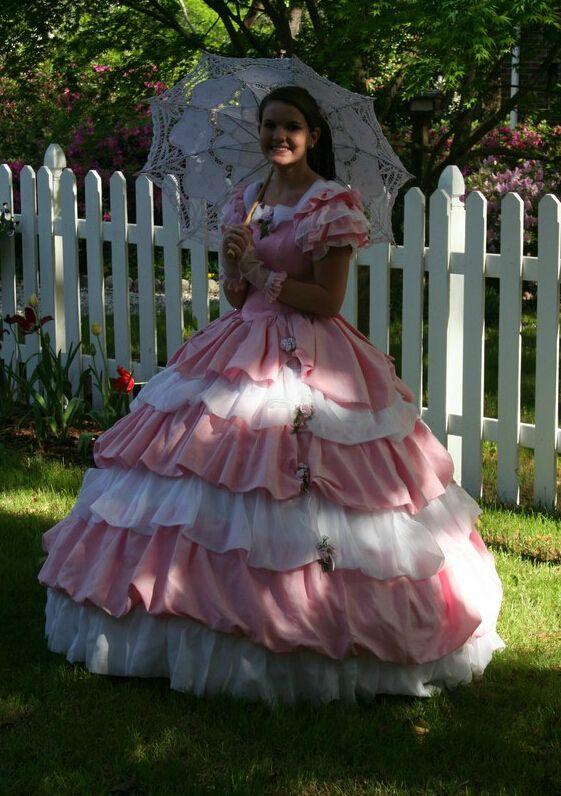 Vintage 19th Civil War Southen Belle Quinceanera Dresses Ball Gown 2015 Pink Azalea Trail Maids