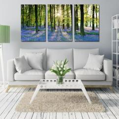 Contemporary Artwork Living Room Industrial Chic Lavender Forest Canvas Print Wall Decor Art Modern 3 Panel Giclee For