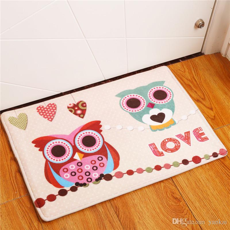owl kitchen rugs cabinet makeover 2017 new home decor animal carpets non slip for living room